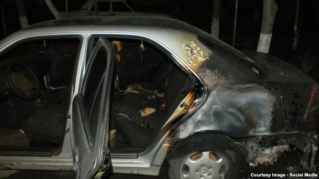 Armenia -- A car belonging to a member of PreParliament burnt down in an arson attack, Yerevan, 27Nov2014