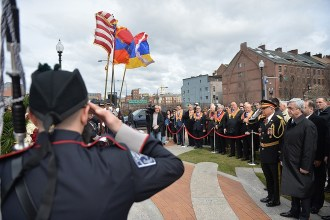 USA -- US, Armenian and Karabakh flags waving proudly in the Armenian Heritage Park in Boston during Armenian President Serzh Sargsyan's working visit, 29Mar2016