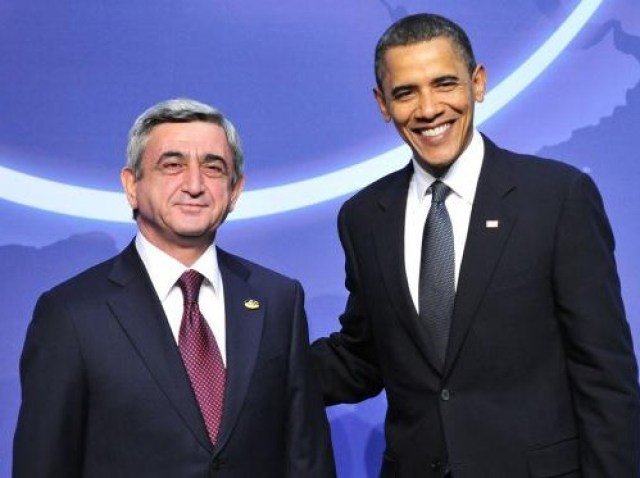 Barack Obama meets Serzh Sargsyan at the Nuclear Security Summit, April 2010