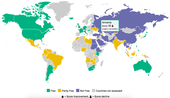 Freedom on The Net 2016 report, interactive map by Freedom House