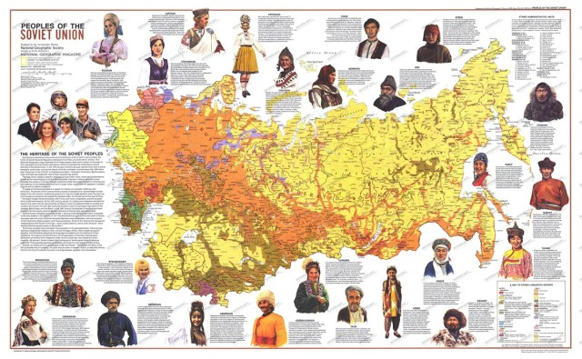 Old National Geographics map describing the people of the Soviet Union