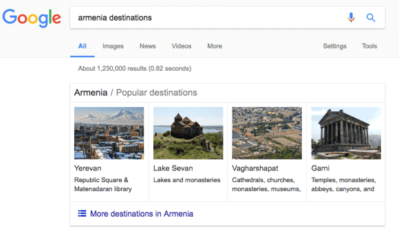 Armenian destinations search on Google