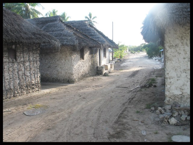 Lokale steinhus i landsbyen