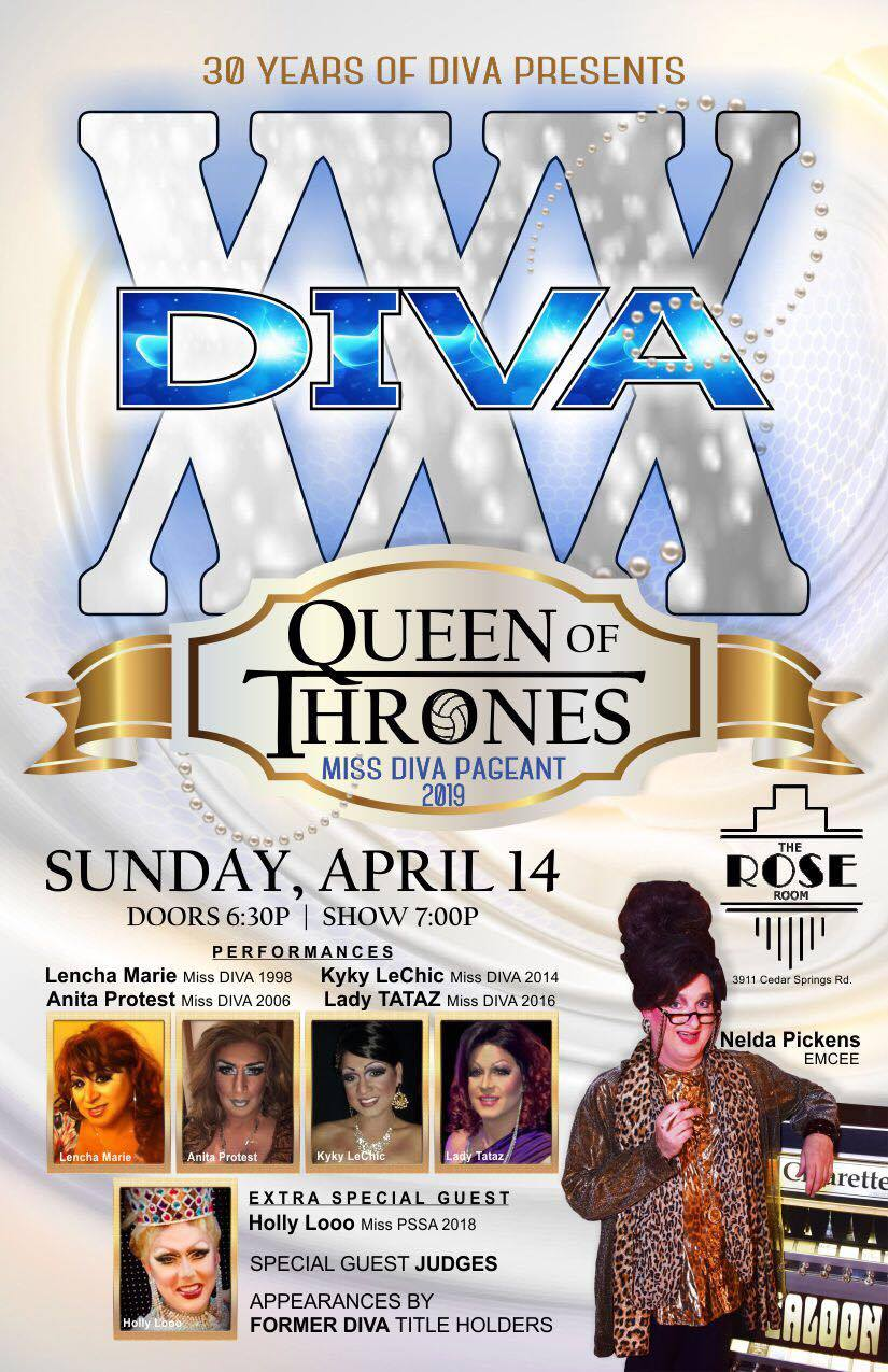 30 YEARS OF DIVA PRESENTS – QUEEN OF THRONES – APRIL 14th