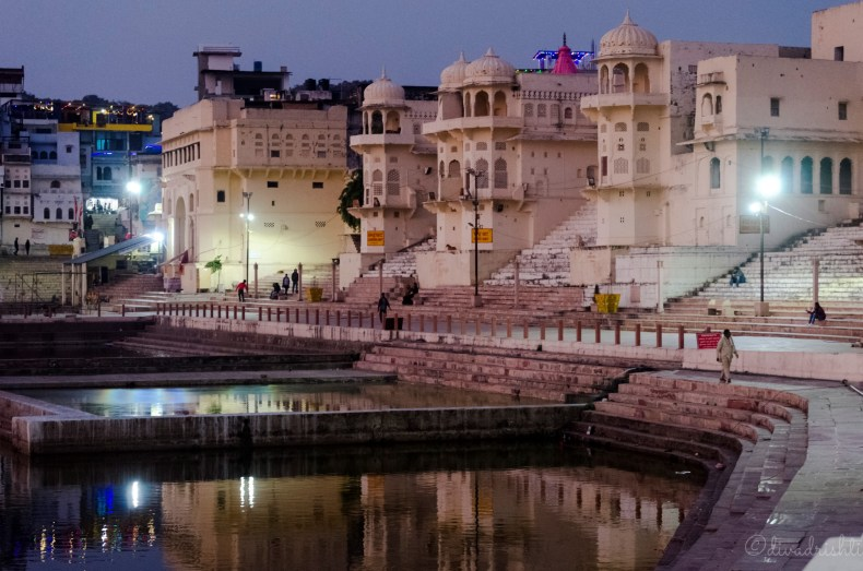 View of the Pushkar ghats at night