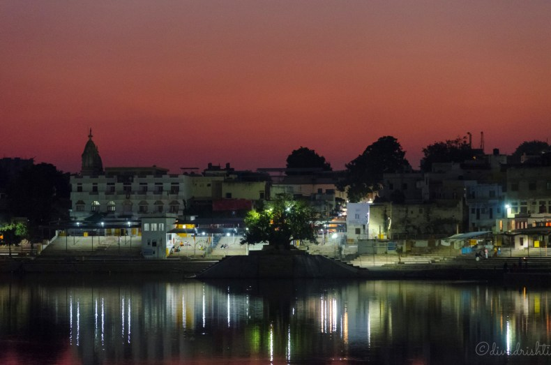 Night view of the brahma ghat at Pushkar