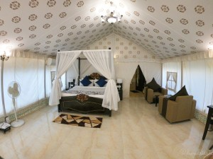 Inside view of the luxury tent in Pushkar