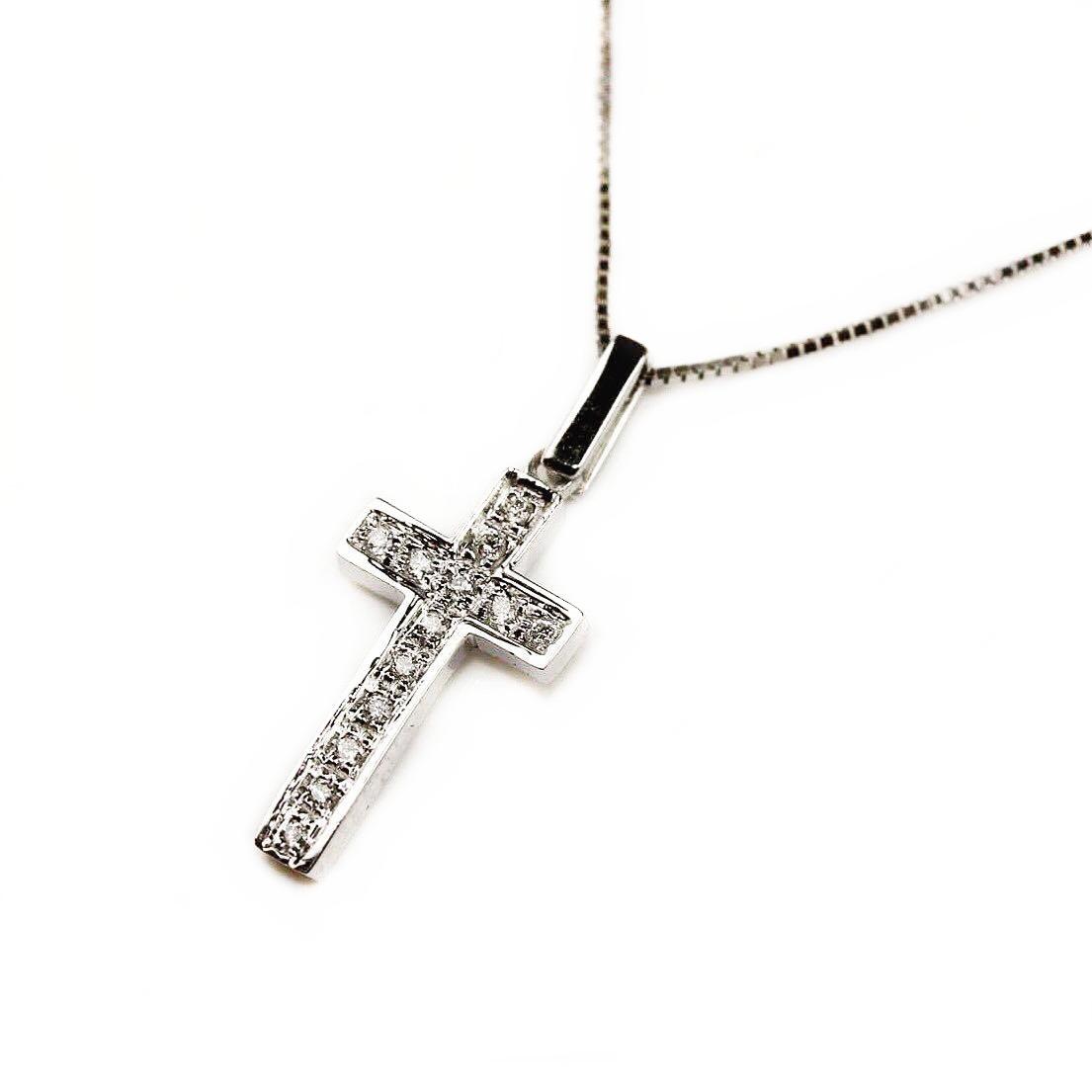 Lan Din Aur Alb 18k Cu Pandantiv Cruciuli Cu Diamante