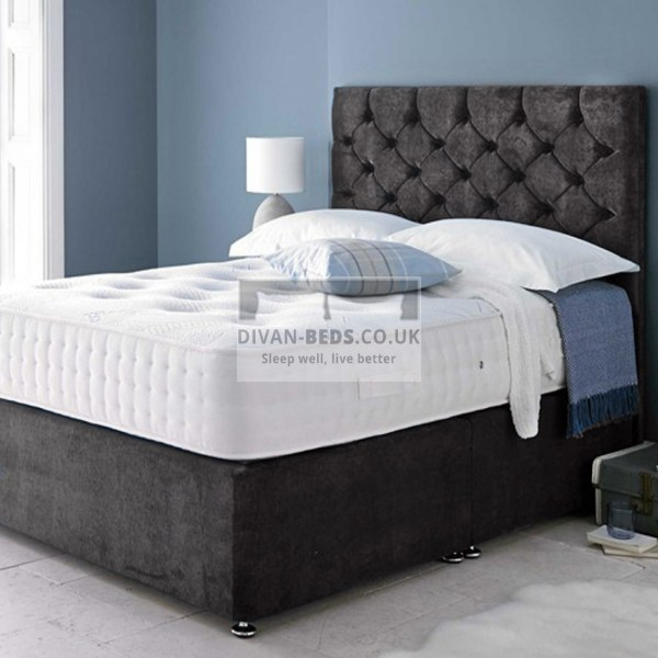 Hermes Soft Velour Divan Bed With 1500 Pocket Spring Memory Foam Mattress - Guaranteed Cheapest