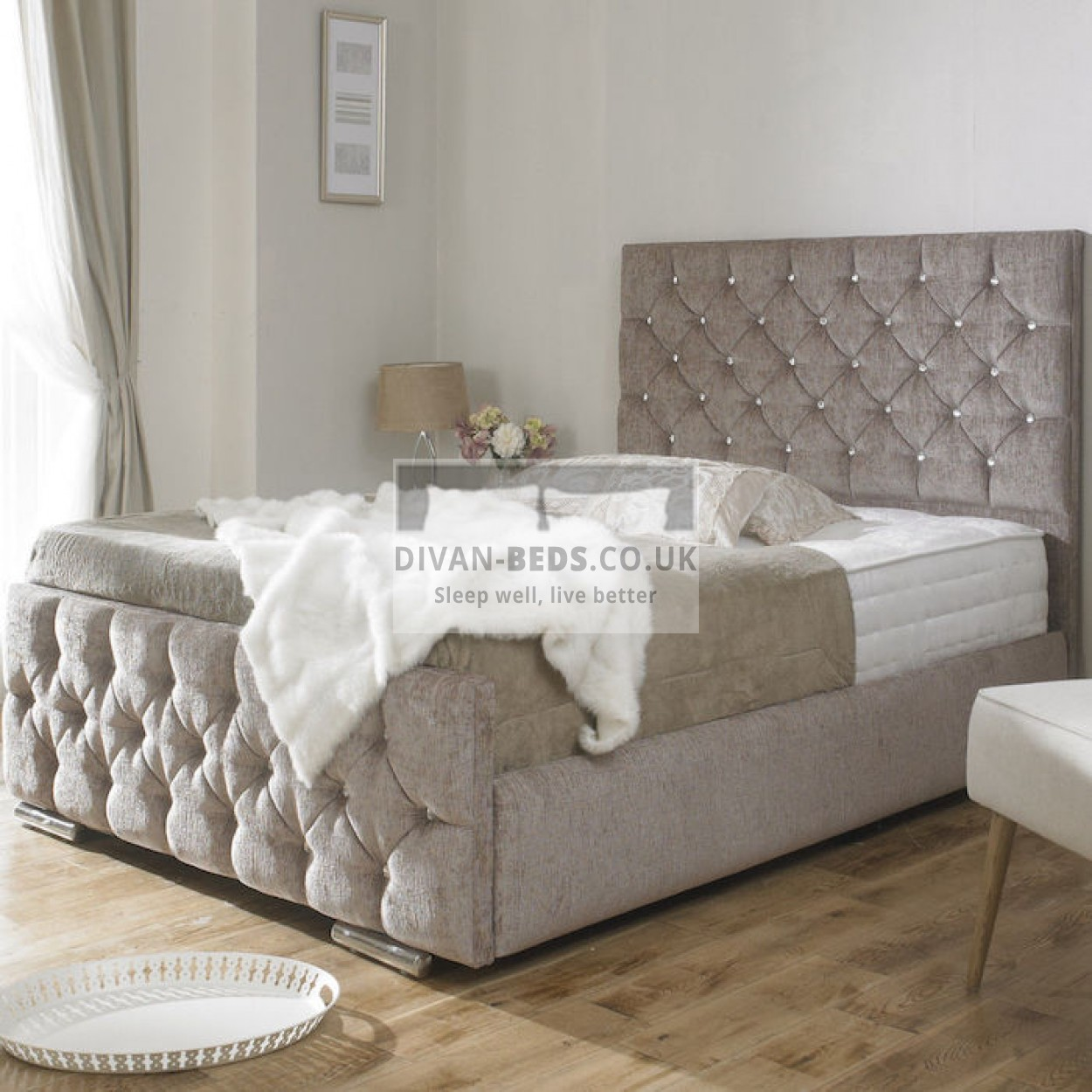 Dina Diamonte Fabric Upholstered Bed Frame Guaranteed
