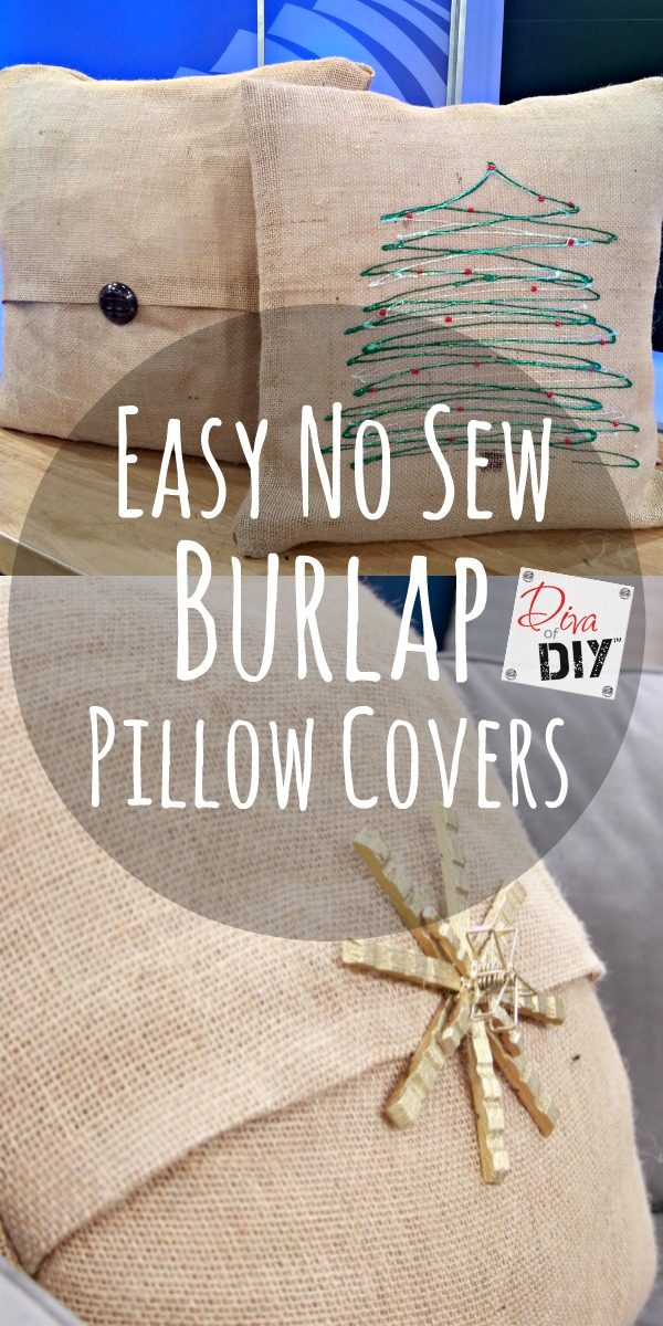How To Make Easy No Sew Burlap Pillow Covers Diva Of DIY