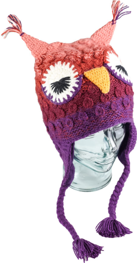 Lady Owl, Unisex Alpaca Blend Animal Hats for the whole family