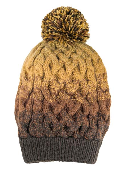 PomPom Hat, Brown, Alpaca Blend, winter Hats for the whole family