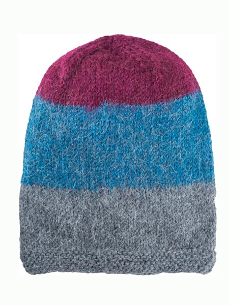Multithree Hat 100% Alpaca, Blue, winter Hats for the whole family
