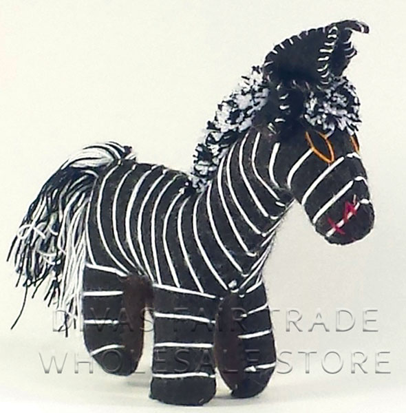 Zebra 100% Natural Wool Stuffed Toys Woolly Amigos