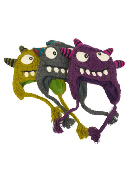 Monster Hats, Fleece Lined. Alpaca Blend, winter Fun Hats for the whole family