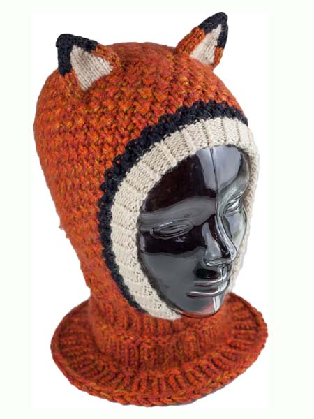 Animal Hood Fox Balaclava, Open face, Alpaca Blend winter Balaclava for the whole family