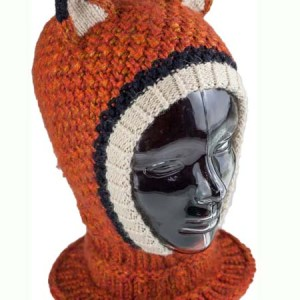 Animal Hood Fox Balaclava, Open face, Alpaca Blend winter Balaclava for the whole family