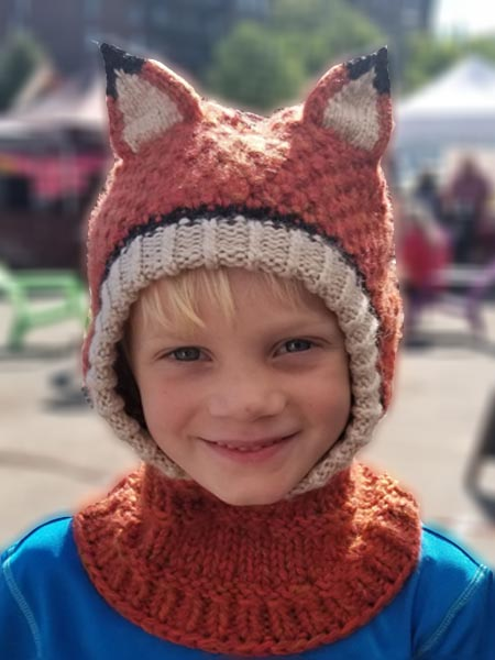 Animal Hoods Fox Balaclava, Open face, Alpaca Blend winter Balaclava for the whole family