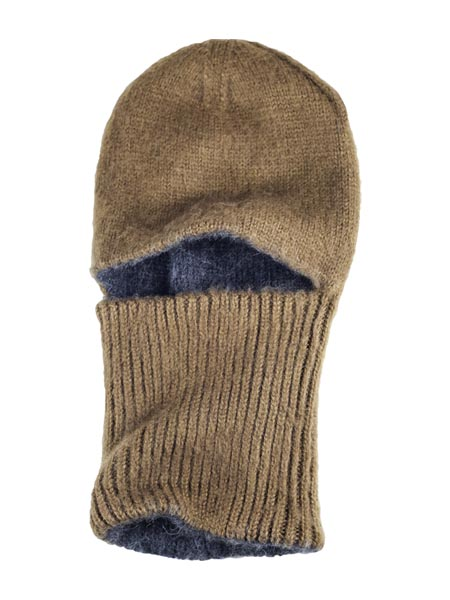 Arctic Hood Reversible, Brown/Charcoal, Alpaca Blend winter Balaclava for the whole family