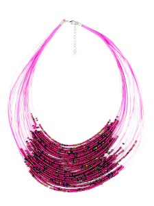 Pink Beaded Drape Necklace