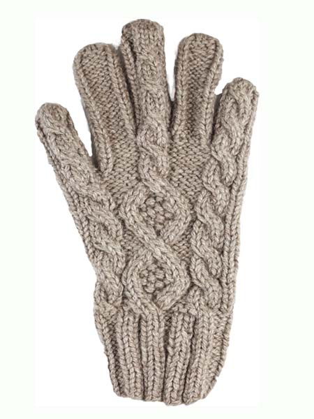 Cable Glove, classic style, Ash, Alpaca Blend, winter Mittens for the whole family