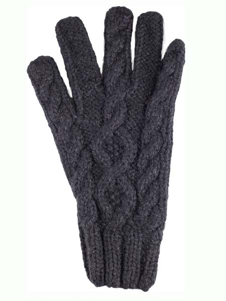 Cable Glove, classic style, Black, Alpaca Blend, winter Mittens for the whole family