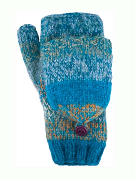 Funky Convertible Mitten, Teal. Alpaca Blend, winter Mittens for the whole family