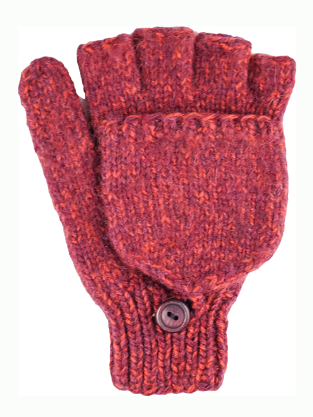 Glitten Convertible Mitten, Burgundy, Alpaca Blend, winter Mittens for the whole family