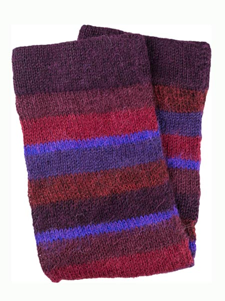 Multi Stripe Leg Warmer 100% Alpaca, Burgundy, Winter accessories for the whole family