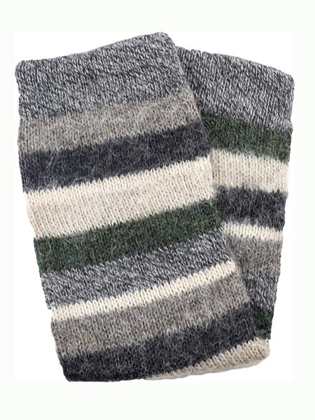 Multi Stripe Leg Warmer 100% Alpaca, Grey, Winter accessories for the whole family