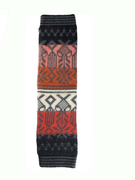 Geometric Leg Warmer Alpaca Blend, Black, Winter accessories for the whole family