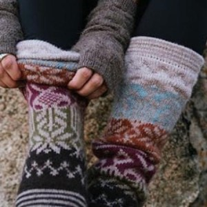 Geometric Leg Warmer Alpaca Blend, Ash, Winter accessories for the whole family