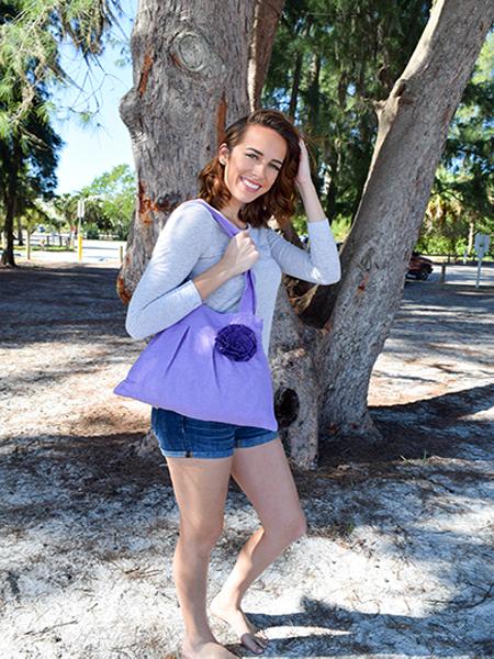 Small Purple Hobo Handbag with Flower