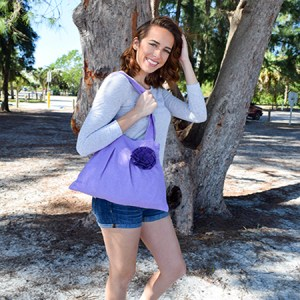 Small Purple Hobo Handbag with Flower