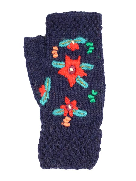 Embroidered Arm warmer 100% Alpaca, Navy, Fingerless, winter Scarves for the whole family