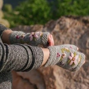 Embroidered Flower Arm warmer Alpaca, Grey, Fingerless, winter Scarves for the whole family