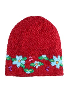 Embroidered Flower Hat 100% Alpaca, Red, Winter Hats for the whole family