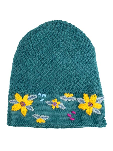 Embroidered Flower Hat 100% Alpaca, Teal, Winter Hats for the whole family