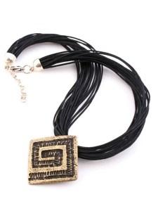 Brass Square Pendant Necklace