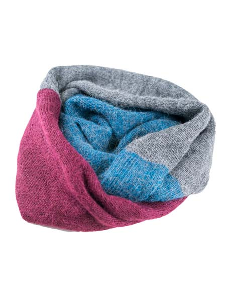 Infinity Scarf 100% Alpaca, Blue, multi color cowl, Unisex winter Scarves for the whole family