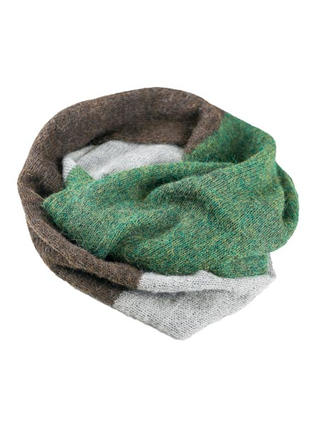Infinity Scarf 100% Alpaca, Green, multi color cowl, Unisex winter Scarves for the whole family