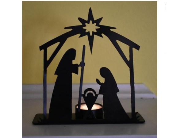 Candle Metal Nativity Scene