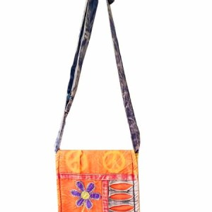 Flower Razor Cut Passport Bag, colorful . from Nepal