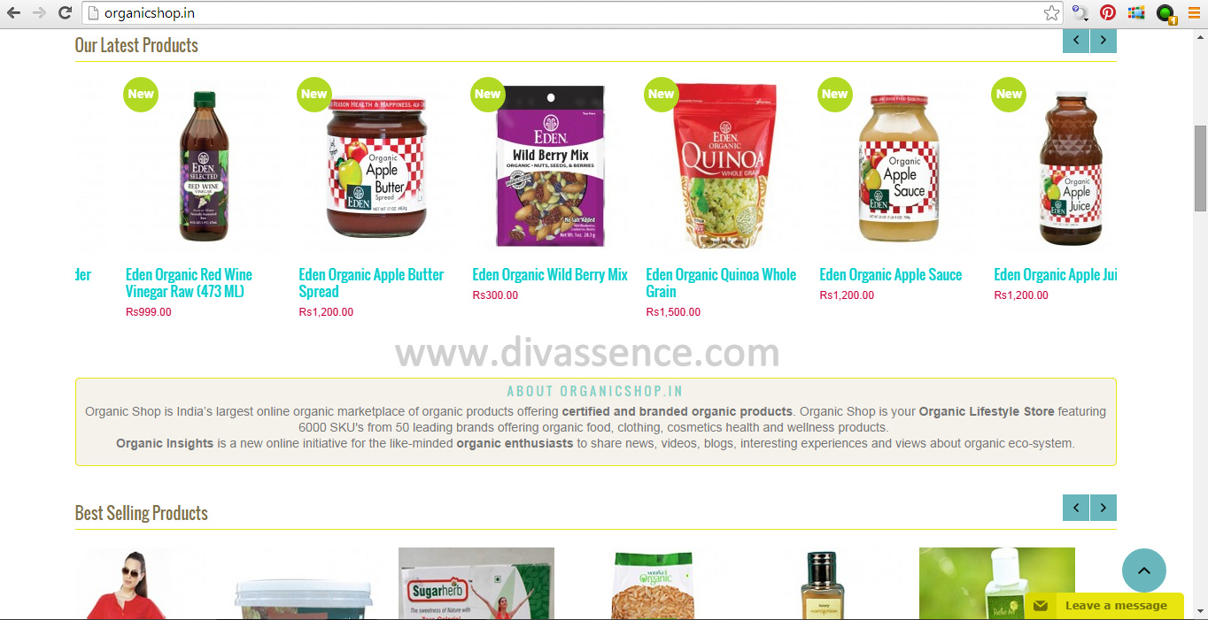 Organic shop site review and discount code divassence for Discount home shopping sites