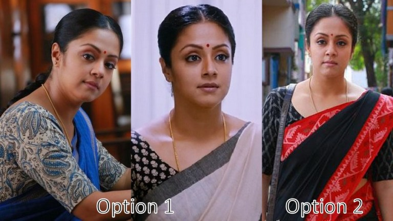 Jyothika saree in Chennai, how to pair saree with printed blosue, 36 vayadhinile, Chennai beauty blogger, Chennai fashion blogger, best cotton sarees in Chennai