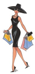 Fashion Lady Shopping Cartoon