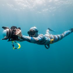 A freediver - at one with a camera