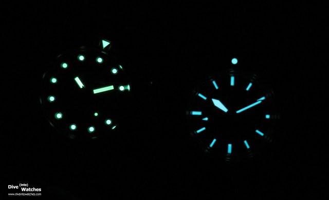Vergleich Leuchtmasse zwischen Certina DS PH200M und Bulova Devil Diver