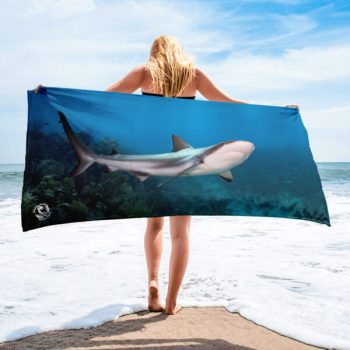 Diver Dena's Adventure Shop- Happy Reef Shark Beach Towel